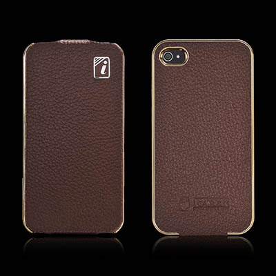 iCarer iPhone 4/4S Flip Electroplating Series Genuine Leather Case Cover