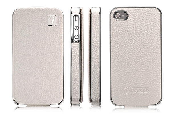 iPhone 4 iCarer Flip Electroplating Series Genuine Leather Case Cover