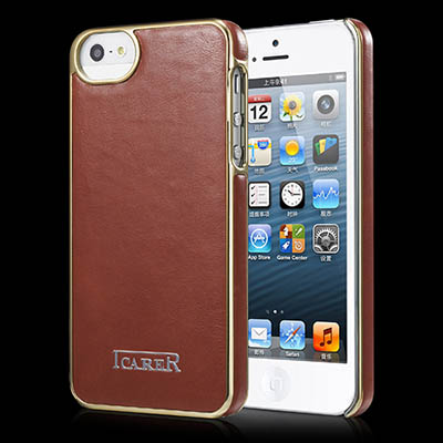 iCarer iPhone 5/5S Electroplating Genuine Leather Back Cover Case
