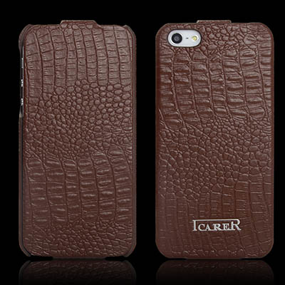 iCarer iPhone 5/5S Fake Crocodile Series Genuine Leather Flip Cover Case