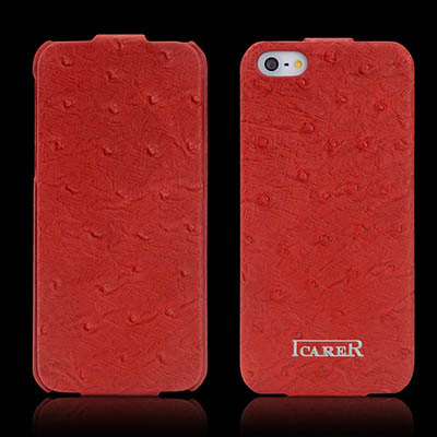 iCarer iPhone SE/5/5S Flip Fake Ostrich Series Genuine Leather Case Cover