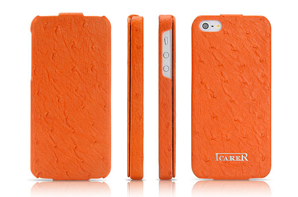 iCarer iPhone 5/5S Flip Fake Ostrich Series Genuine Leather