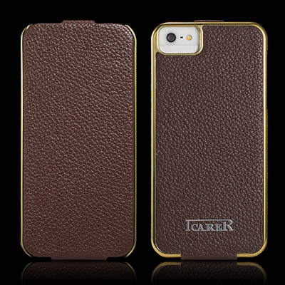 iCarer iPhone SE/5/5S Flip Electroplating Series Genuine Leather Case Cover