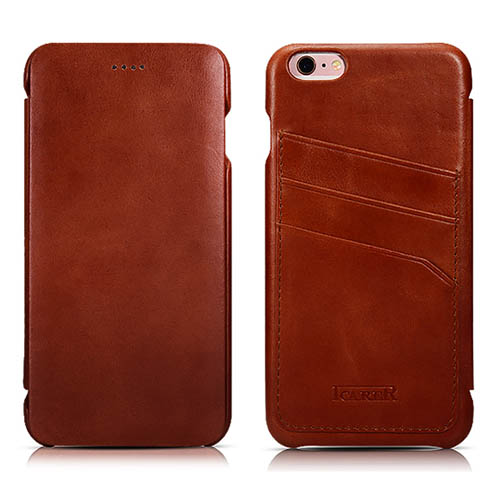 iCarer iPhone 6/ 6S Curved Edge Vintage Card Slot Series Real Cowhide Leather Case