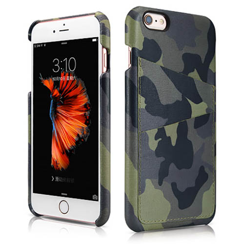 the latest 83c77 7a7ce iCarer iPhone 6 Plus/ 6S Plus Camouflage Card Slot Back Cover Series  Genuine Leather Case