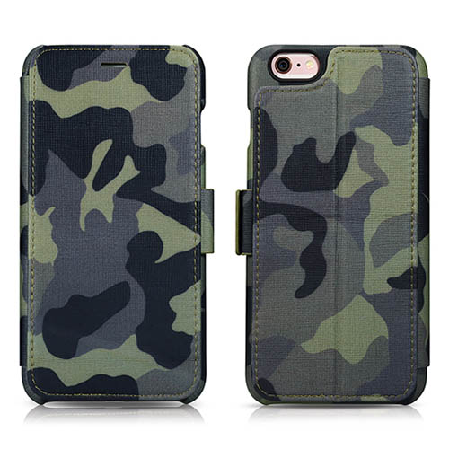 iCarer iPhone 6 Plus/ 6S Plus Camouflage Wallet Genuine Leather Case With Three Credit Cards Slot Design