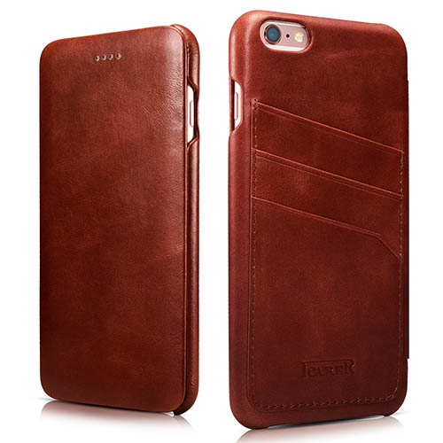 iCarer iPhone 6 Plus/ 6S Plus Curved Edge Vintage Card Slot Series Real Cowhide Leather Case