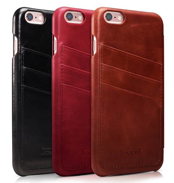 brand new 77dcb 5c2a5 iCarer iPhone 6 Plus/ 6S Plus Curved Edge Vintage Card Slot Series Real  Cowhide Leather Case