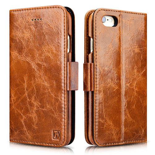 iCarer iPhone 6 Plus/ 6S Plus Oil Wax Leather Detachable 2 in 1 Wallet Folio Case