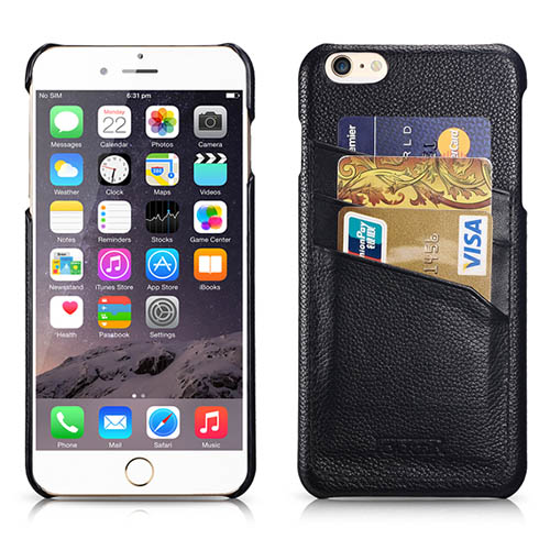 iCarer iPhone 6/ 6S Litchi Pattern Card slot Back Cover Series Genuine Leather Case Cover