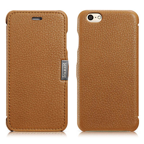 iCarer iPhone 6/ 6S Side Open Litchi Pattern Series Genuine Leather Case Cover