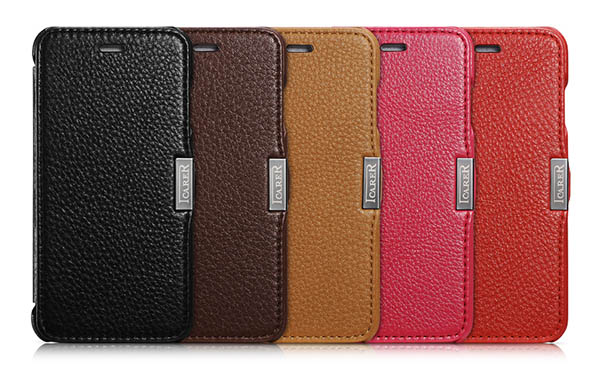 iPhone 6 iCarer Side Open Microfiber Check Series Genuine Leather Case Cover