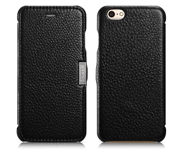 iPhone 6S iCarer Side Open Microfiber Check Genuine Leather Case Cover