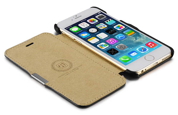 iCarer iPhone 6S Side Open Microfiber Check Genuine Leather Case Cover