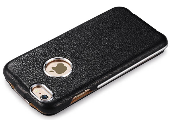 iCarer iPhone 6S Metal Warrior Litchi Pattern Magnetic Flip Leather Case