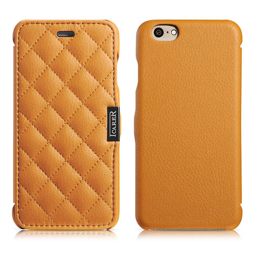 iCarer iPhone 6/ 6S Side Open Microfiber Check Series Genuine Leather Case Cover