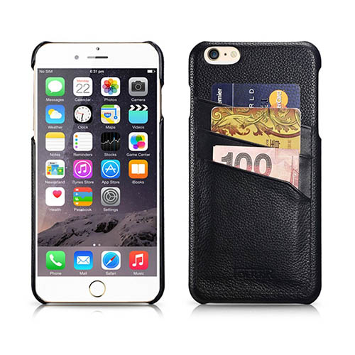 iCarer iPhone 6 Plus/ 6S Plus Litchi Pattern Card slot Back Cover Series Genuine Leather Case