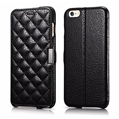 iCarer iPhone 6 Plus/ 6S Plus Side open Microfiber Check Series Genuine Leather Wallet Stand Case