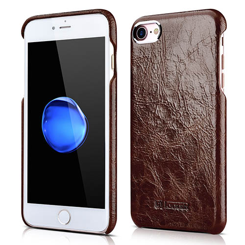 iCarer iPhone 8 Metal Warrior Oil Wax Real Leather Back Case