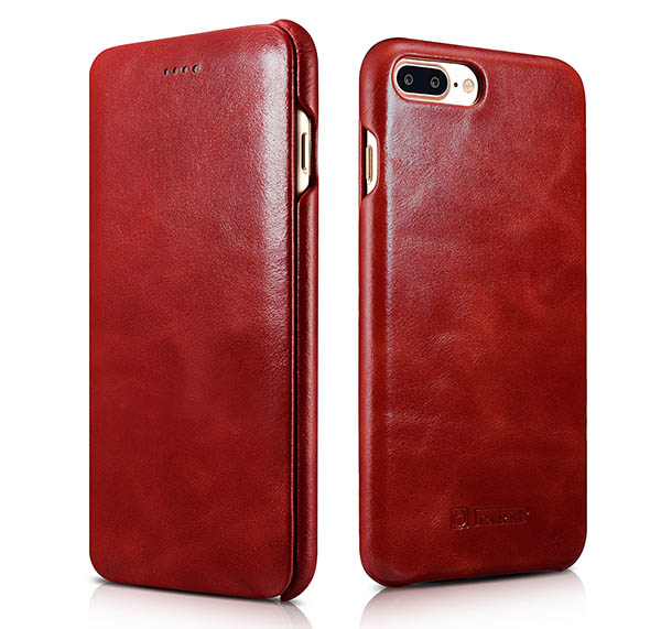 iCarer iPhone 8 Plus Curved Edge Vintage Series Genuine Leather Case