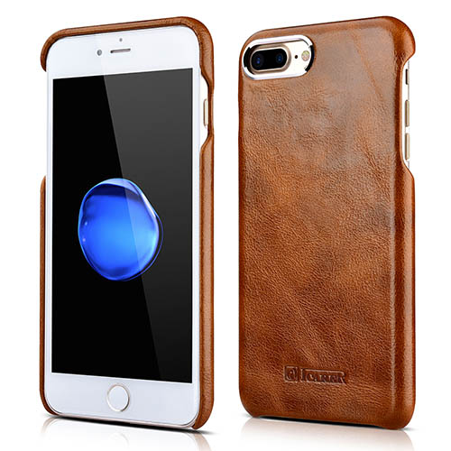 iCarer iPhone 8 Plus Metal Warrior Oil Wax Real Leather Cover