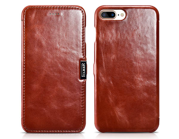 iCarer iPhone 8 Plus Vintage Series Side Open Genuine Leather Case
