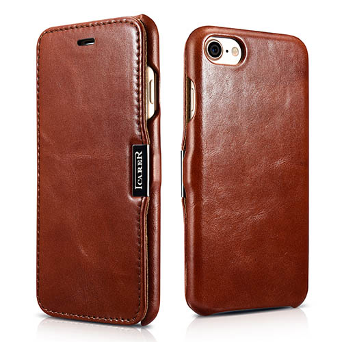 iCarer iPhone 7 Vintage Series Side Open Genuine Leather Case