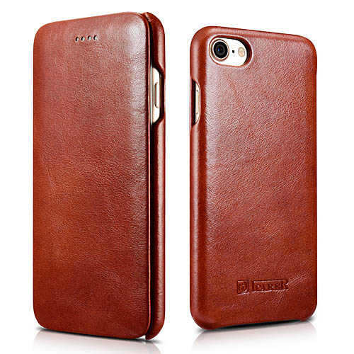 iCarer iPhone 8 Curved Edge Vintage Series Genuine Leather Case
