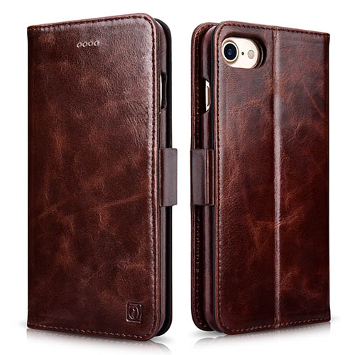 iCarer iPhone 8 Oil Wax Wallet Leather Detachable Folio Case