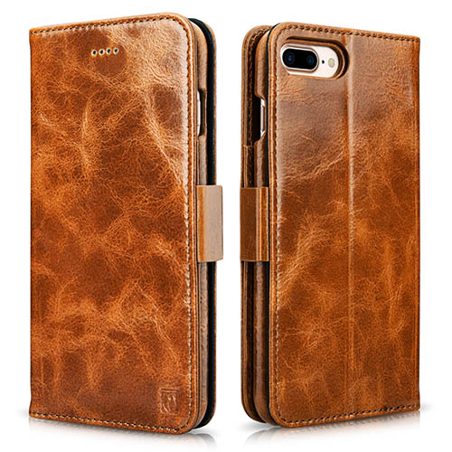iCarer iPhone 8 Plus Oil Wax Wallet Leather Detachable Folio Case