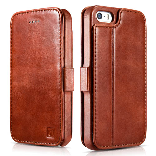 iCarer iPhone SE/5S/5 Vintage Wallet Case with Two Credit Cards Slot Design