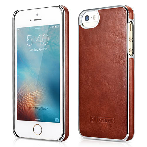 iCarer iPhone SE/5S/5 Electroplating Vintage Back Cover Series Genuine Leather Case