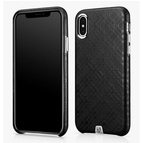 iCarer iPhone Xs Check Pattern Luxury Back Cover Genuine Leather Case