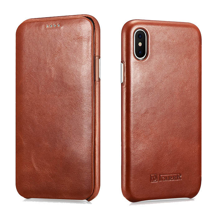 iCarer iPhone Xs Curved Edge Vintage Series Genuine Leather Case