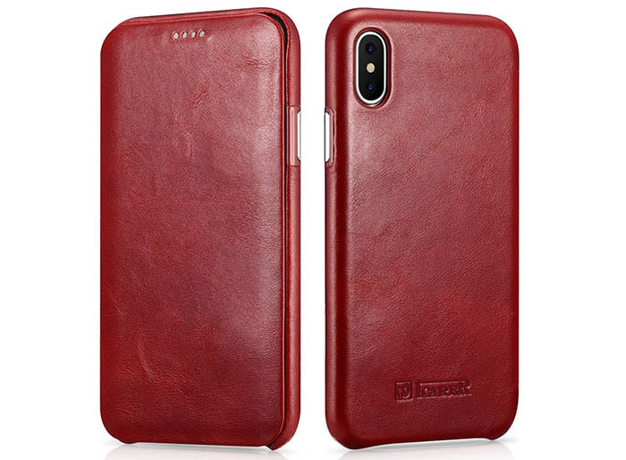 iCarer iPhone X Curved Edge Vintage Series Genuine Leather Case