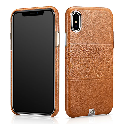 iCarer iPhone Xs Totem Pattern Luxury Back Cover Cowhide Leather Case
