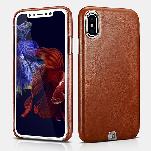 iCarer iPhone Xs Transformer Vintage Back Cover Cowhide Leather Case