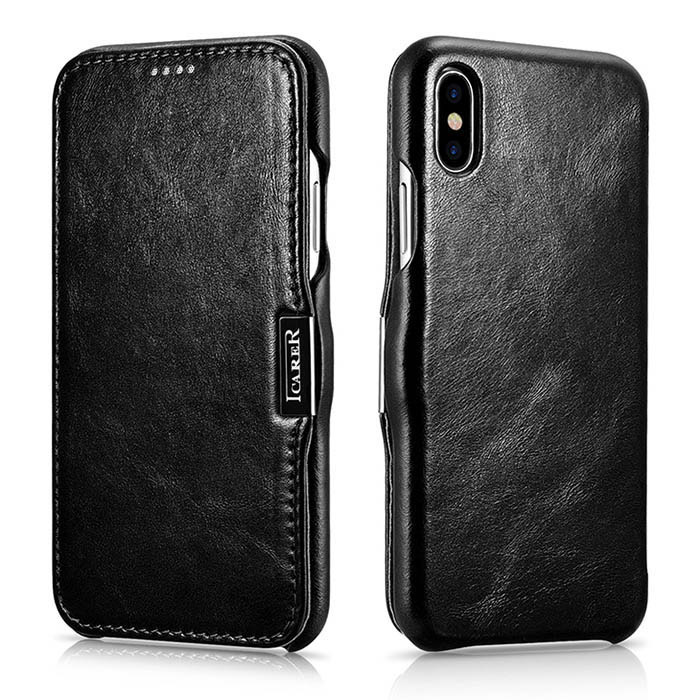 iCarer iPhone Xs Max Vintage Series Side Open Genuine Leather Case