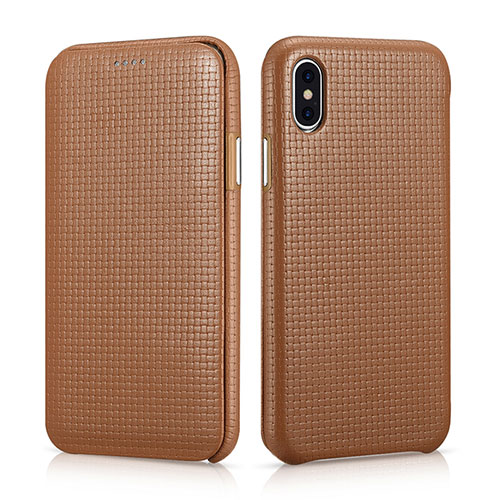 iCarer iPhone Xs Woven Pattern Curved Edge Genuine Leather Folio Case