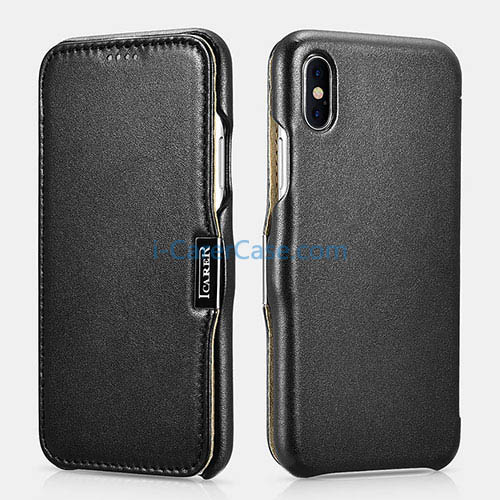 iCarer iPhone Xs Max Luxury Series Side Open Genuine Leather Case